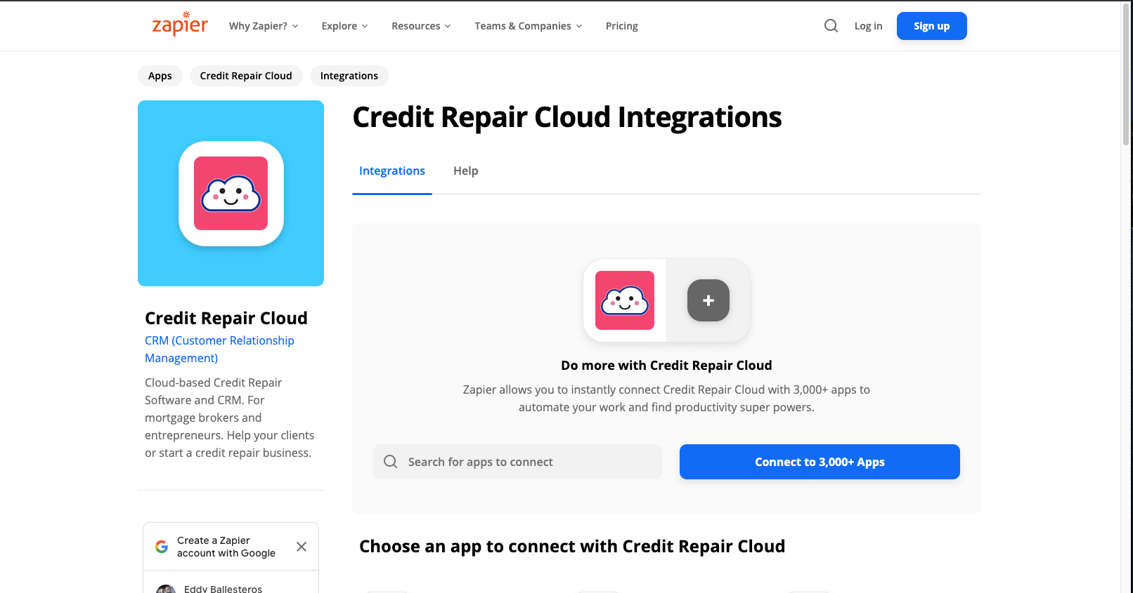 Credit Repair Cloud Zapier