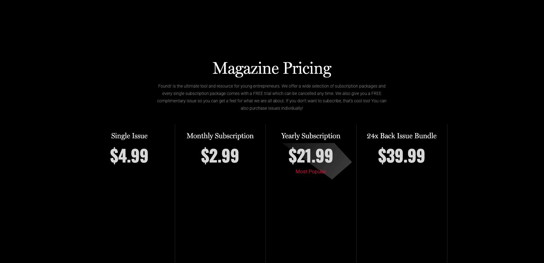 Foundr Magazine Pricing