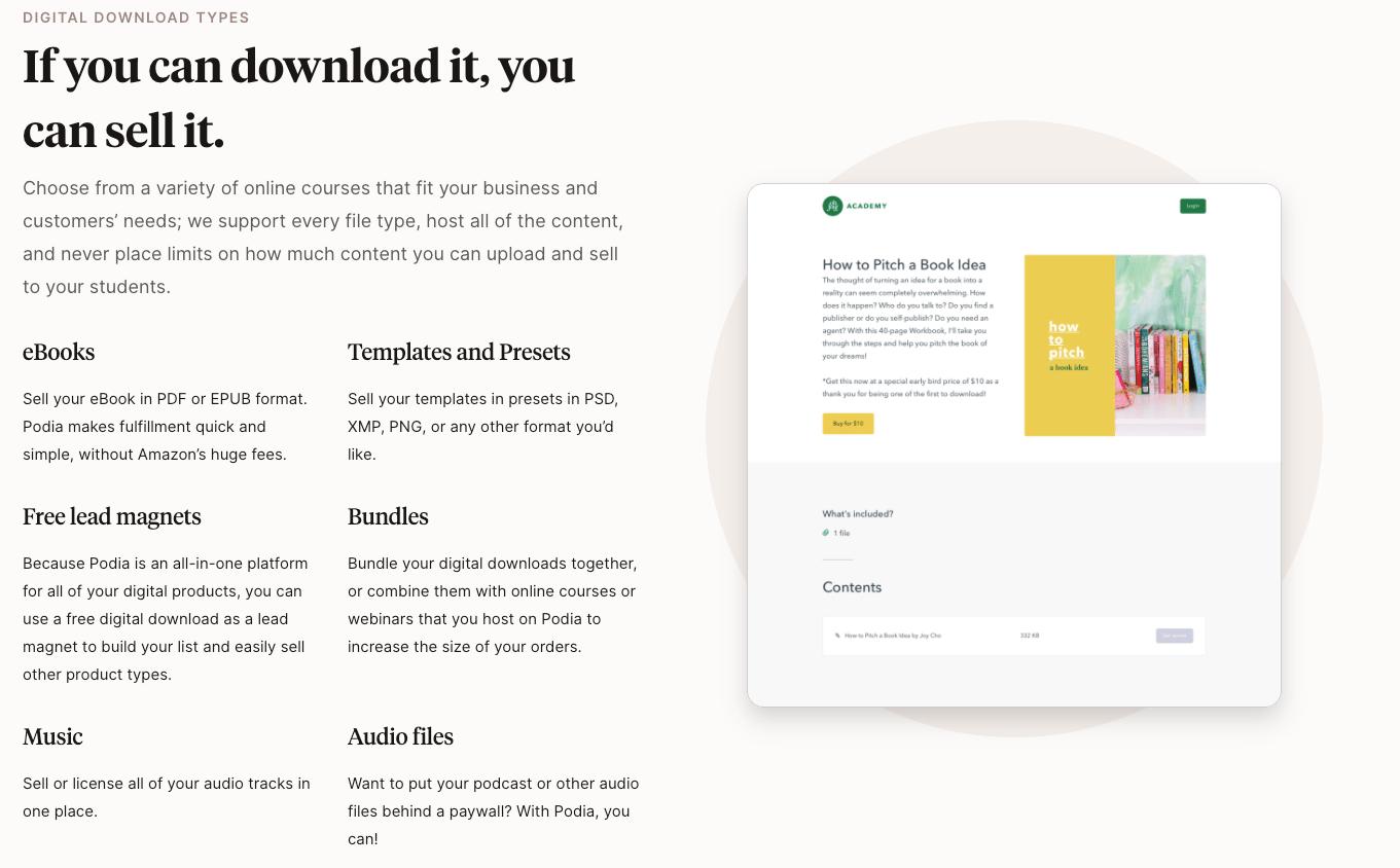 Podia Digital Downloads Types