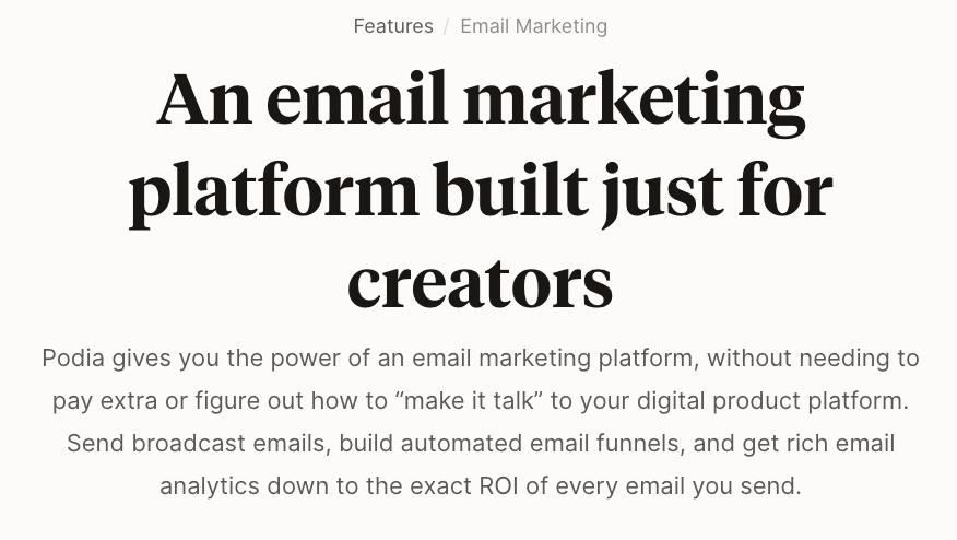 Podia's Email Marketing