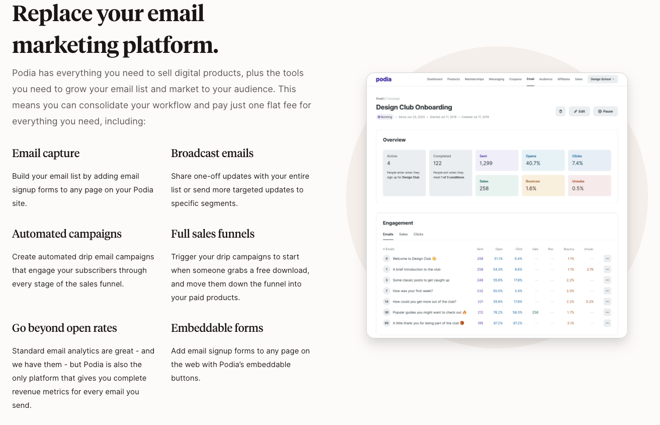 Podia's Email Marketing Features