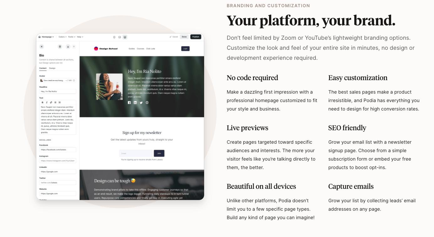 Podia Custom Website