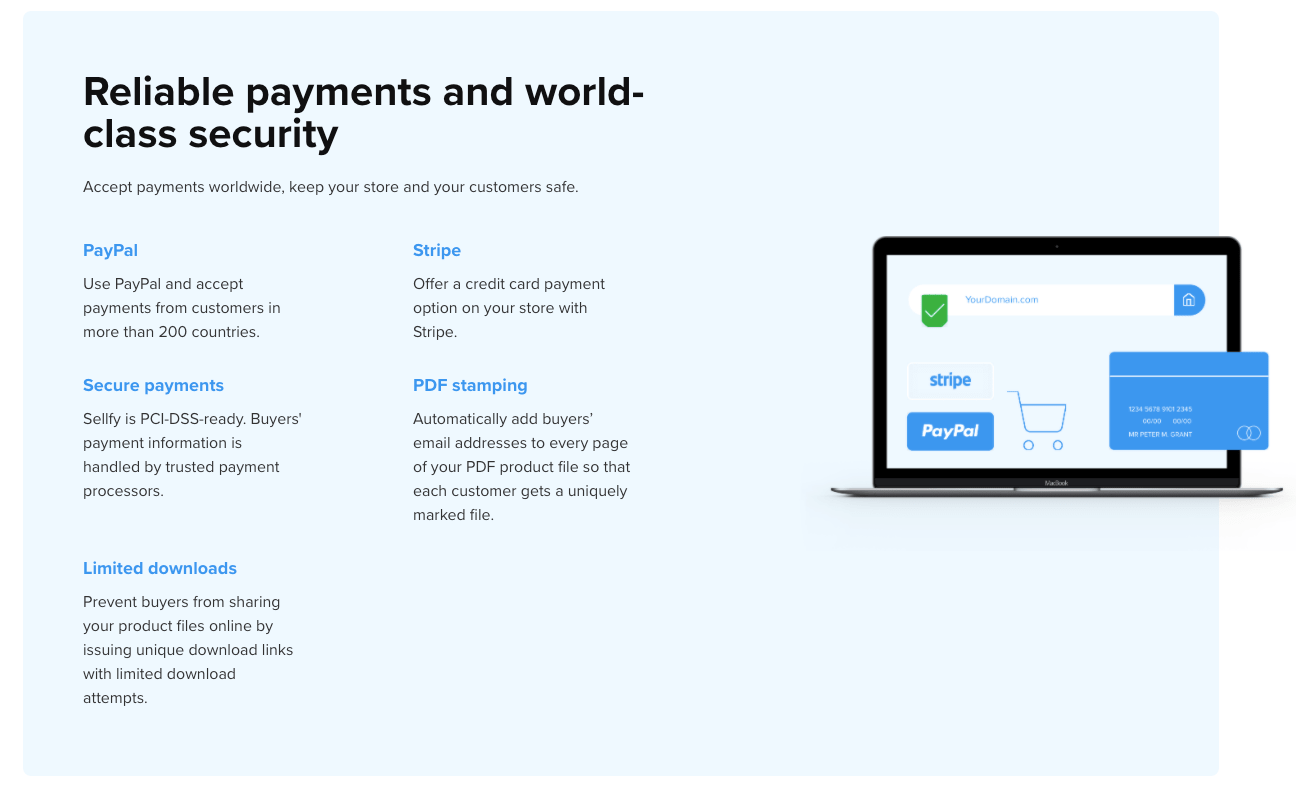 Sellfy Payment Methods