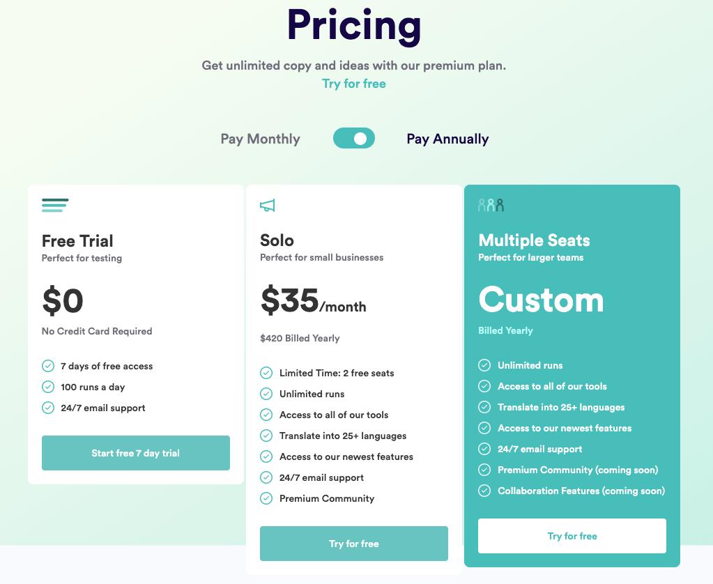 CopyAI Pricing