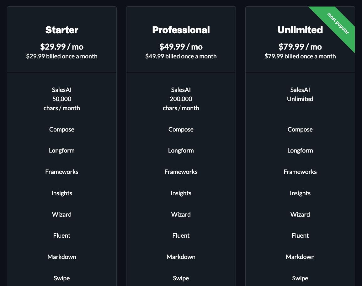 ClosersCopy Pricing