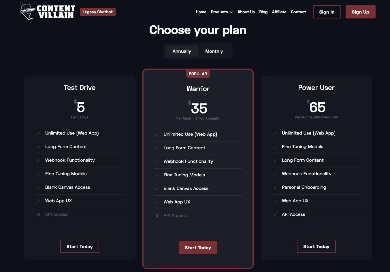 Content Villain Pricing